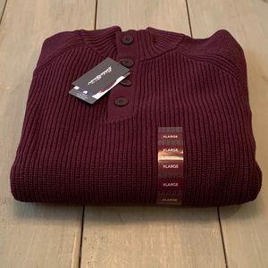 Eddie Bauer Men's Wine Quarter Button Sweater XL